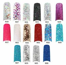 Glitter Nail Tips - NAIL EXTENSIONS - 135pcs Complete with Box - 16 designs