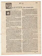 1760, august 16, Original French Gazette #33. Deadly and destructive hailstorm
