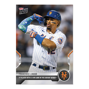 Francisco Lindor -- 2021 MLB TOPPS NOW Card #800 1st 3 Hr Game in Subway Series