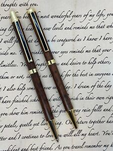 Handcrafted Australian Pen and Pencil Set - Tiger Myrtle Wood