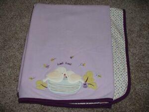 Gymboree Fun in the Snow Baby Girl Blanket Purple Birds Tweet Tweet 2006 RARE