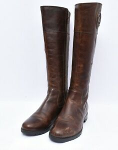Rockport M77796 Women's Tristina Rosette Tall Wide Calf Leather Boots Sz 7.5