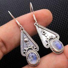 Fashion Moonstone 925 Silver Earrings Ear Hook Studs Dangle Drop Jewelry Gift