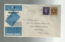 1939 London England First Flight Cover to USA FFC via Imperial Airways