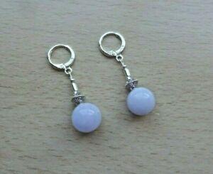 Dainty  light blue ANGELITE  Gemstone drop EAR RINGS St Silver Gift wrapped