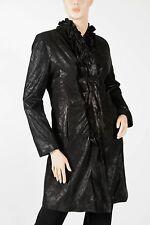 J. MENDEL – Black Shimmering Leather Suede Ruffle Rosette Evening Coat – Size 42