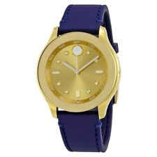Movado Bold Gold White Accents Blue Silicone Rubber Swiss Movement 38MM 3600413