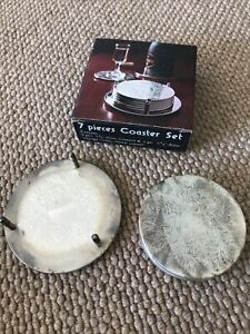 Vintage Silver Plated 7pc Coaster Set Boxed Unused