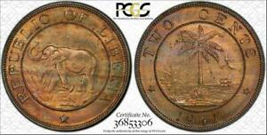 1941 LIBERIA 2 CENTS BU UNCIRCULATED PCGS MS64 COLOR TONED COIN IN HIGH GRADE