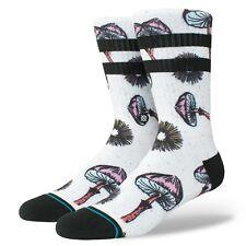 Stance Men's M 6-8.5 Silly Shrooms Crew Socks Classic Black White Mushroom NEW