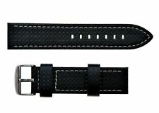 Premium Quality 22mm Black Carbon Fibre Effect Italian Made Leather Watch Strap