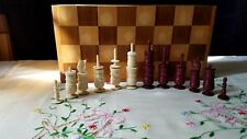 Vintage Made in Mexico Resin and Wood Cultural Chess Set Complete with Board