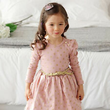 Kids Girls Baby Dress Bow Polka Dot Long Sleeve Party Gown Formal Belted Dress