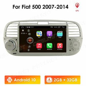 Autoradio Android 10 DSP GPS Navi Carplay WIFI USB DAB+ RDS für Fiat 500 2G+32GB