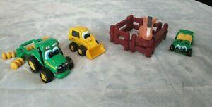 ERTL JOHNNY John Deere Big Eyes Tractor w/ Disk, Loader, Gator, Fence & Horse