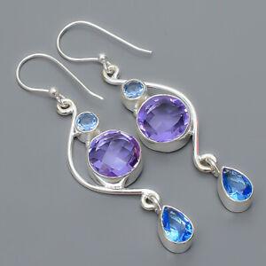 "Colorchange Alexandrite & Tanzanite 925 Sterling Silver Earring 2.42"" T928"