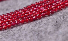 """4mm Genuine Natural Faceted Red Ruby Round Gems Loose Beads 15"""" AAA"""