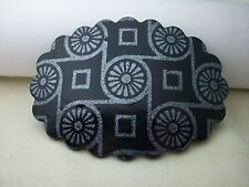BLACK SILVER OVAL HAIR CLIP BARRETTE ACCESSORY