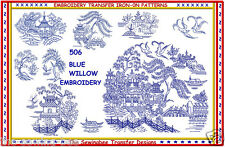 506 Blue Willow Embroidery Transfer pattern IRON-ON transfers