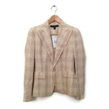 Ralph Lauren Black Label Jacket 4 Beige Plaid Linen Silk Blazer Women's Career