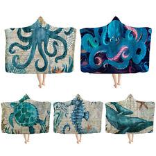 Turtle Octopus Whale Adult Kids Warm Winter Hooded Blanket Sofa Sherpa Throw