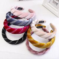Fashion Women Velvet Stripe Padded Sponge Headband Hair Band  Headwear Headwrap