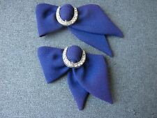 Vintage rhinestones silvered metal purple fabric bow appliques shoes millinery