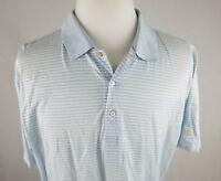 Mens XL Peter Millar Summer Comfort Blue Striped Golf Polo Shirt Golfing