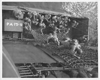 Official U.S. WW2 Photograph Training USS American Legion Troops Going Over Side