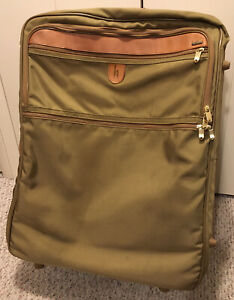 Hartmann Green 27 Inch Suitcase Expandable Canvas Nylon Leather Wheels Genuine