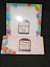 Colorful Birthday Party Ballons & Streamers Stationery Letterhead & Envelopes