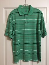 NWOT Mens PING  Size M Green Striped Short Sleeve Polo/Golf Shirt