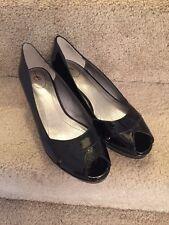 3d03cde87db New Easyspirit Black Patent Wedge Peep Toe Shoes ...