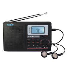 TIVDIO VT-111 Portable AM/FM/FM Shortwave Radio with Clock and Alarm, Black US