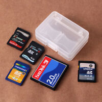 Plastic CF/SD Card Compact Flash Memory Card Holder Box Storage Transparent Case