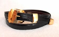 SHANT PETER GENUINE BLACK LIZARD BELT, GOLD BUCKLE & TAIL, SIZE 50, AMAZING!*