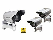 3 x Solar Powered Dummy Security Cameras - Complete with Red LED light