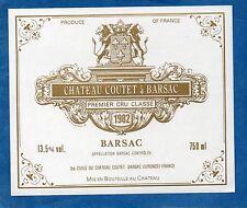 SAUTERNES 1ER GCC VIEILLE ETIQUETTE CHATEAU COUTET A BARSAC 1982 RARE §16/02/17§