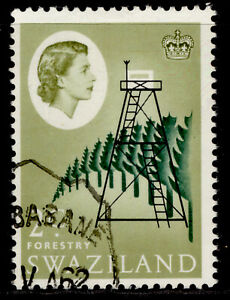 SWAZILAND QEII SG92, 2c deep bluish green, black & yellow-olive, FINE USED.