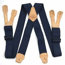 """Duluth Trading Mens Elastic X Suspenders Leather Button Hole Taps 2"""" Navy"""