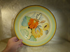 More details for 1930s art deco hand painted grays pottery hanley floral charger plate 12