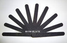 """10pc Professional Acrylic Nail File 80/100 Grit Black Sanding Files 7"""" NEW"""