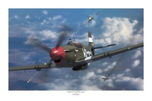 "WWII WW2 USAAF Ace  Mustang P-51 Bf109 Aviation Art Photo Print - 12"" X 18"""