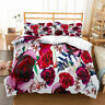 Red Floral Single/Double/Queen/King Size Bed Duvet/Quilt/Doona Cover Set Linen