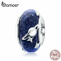 BAMOER European Charms S925 Sterling silver Interstellar Blue Bead Fit Bracelet
