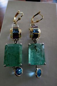Huge 75+ carats natural Emerald topaz amethyst 14k gold earrings & bracelet