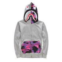 Japan Zip Aape Jacket Mens Bape Camo Shark Head Coat Hoodie WGM Black Ape Zipper