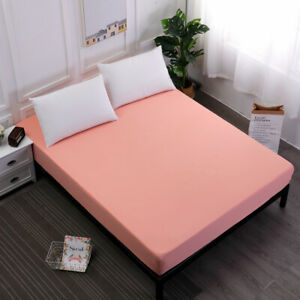 Solid Color Waterproof Fitted Sheet Extra Deep Elastic Mattress Cover All Size