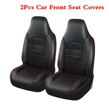 Car Black &Red PU Leather 2Pcs Front Seat Full Surround Seat Covers Protector