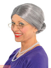 Ladies Grey Granny Grandmother Wig with Old Lady Mother Hubbard Witch Fancy Dres
